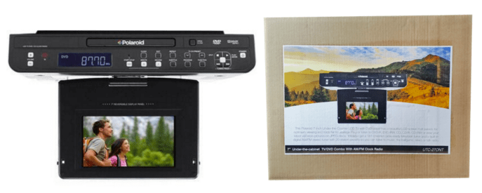 tech electronic polaroid under the cabinet 7 lcd tv dvd combo with
