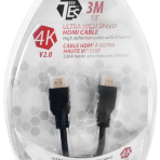3M / 9.8′ TES ULTRA HIGH SPEED 4K HDMI V2.0 CABLE with ETHERNET