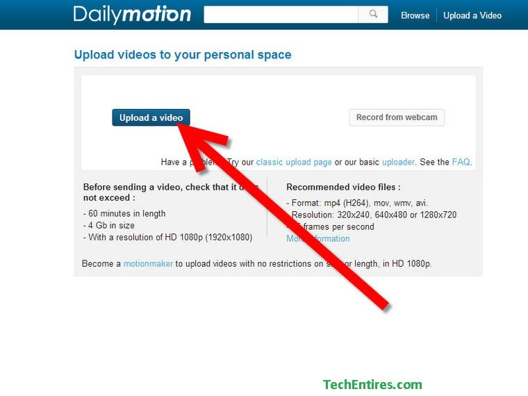 uploading on dailymotion