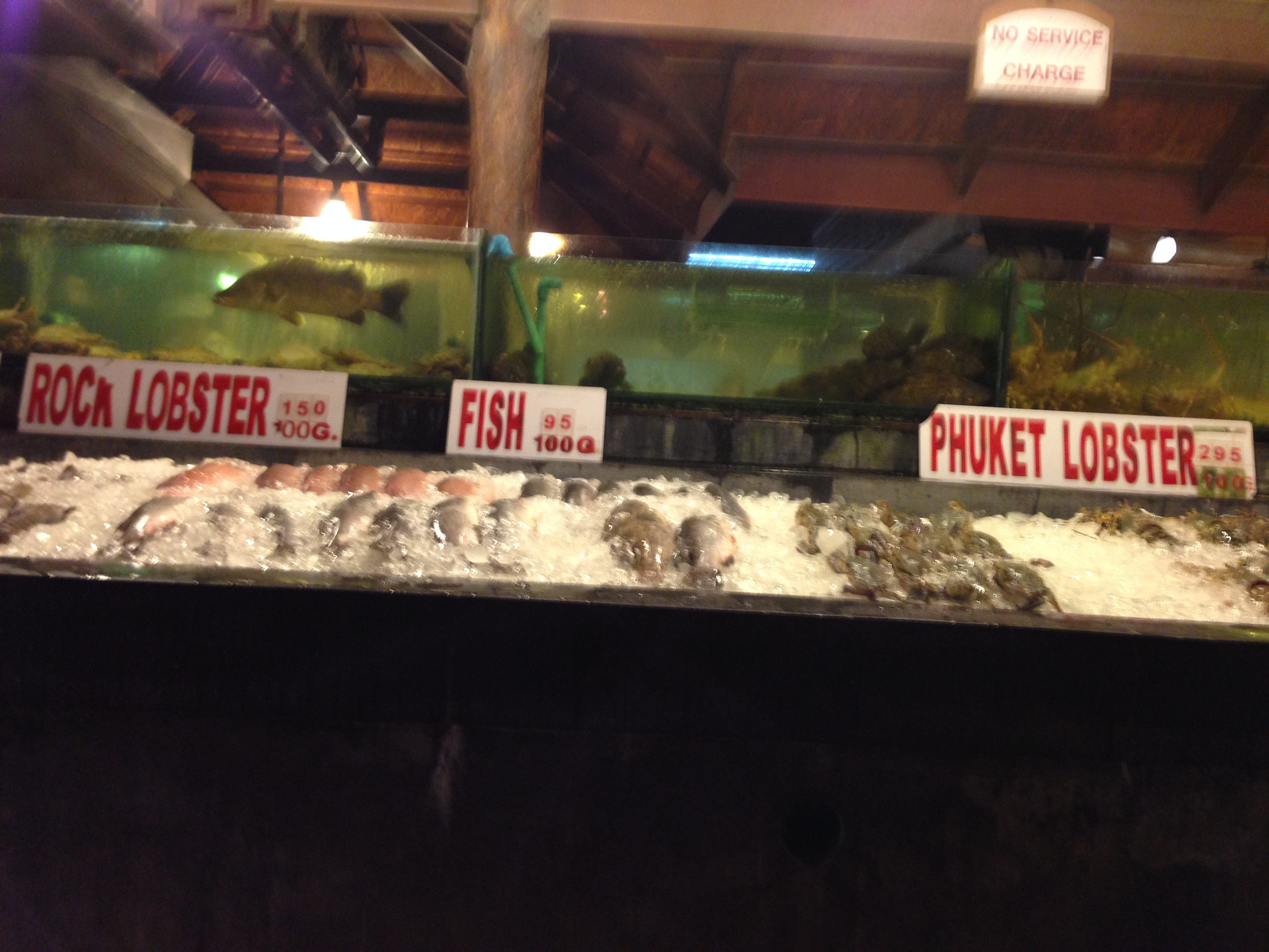 """The front of a seafood restaurant in Phuket. Seafood displayed on ice. The signs say """"rock lobster,"""" """"fish"""" and """"phuket lobster."""" A water tank with large fish is visible behind the seafood display."""