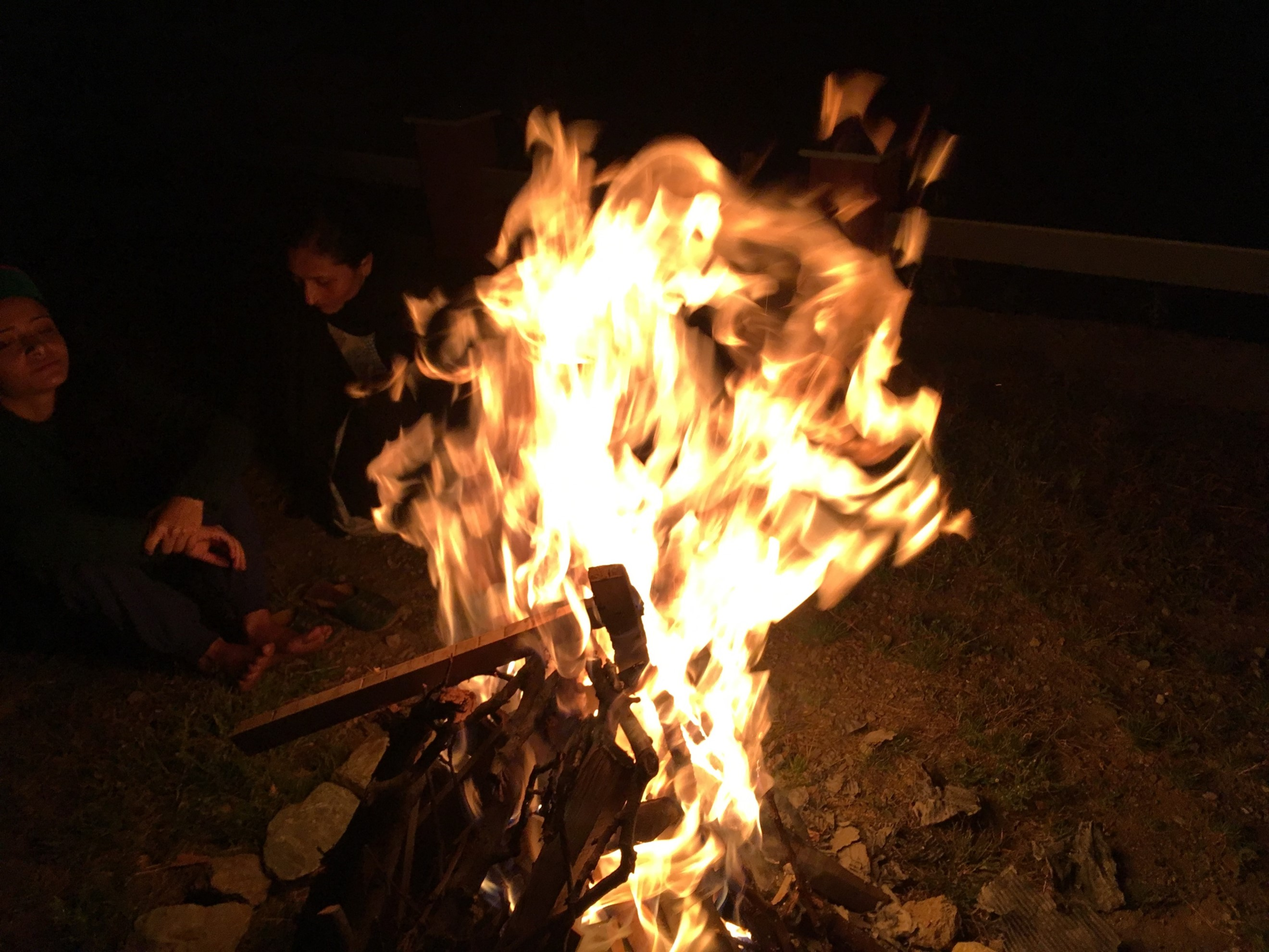 The camp fire, notice the height of the flames