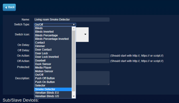 Virtual switches in Domoticz