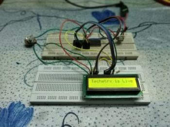 Following image shows practical setup for interfacing LCD with pic microcontroller.