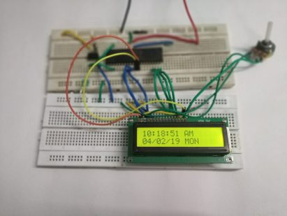 Image shows date and time on character lcd.