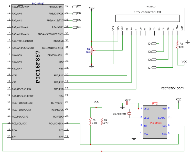 Image shows interfacing of pic microcontroller with rtc.