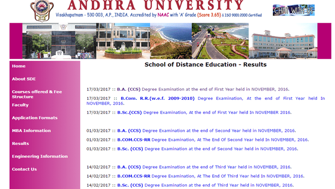 Andhra University SDE Degree 1st Year Results 2016
