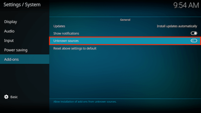Enable Unknown Sources On Kodi 17 Step 4