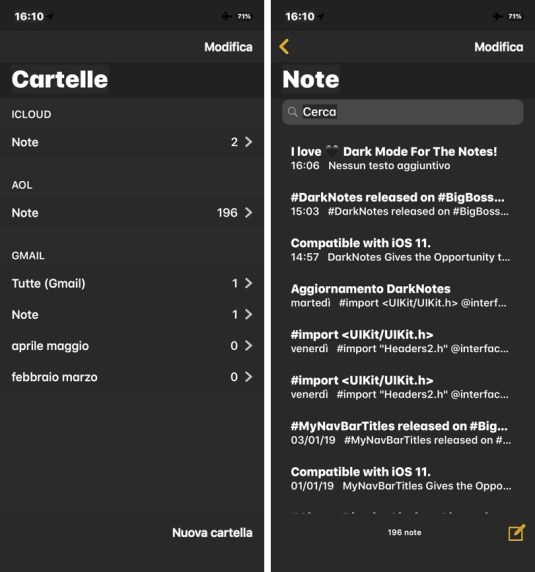 Download and Install DarkNotes, MessageBubbles, unknownWA Cydia Tweaks:
