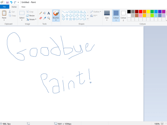 Goodbyte Microsoft Paint