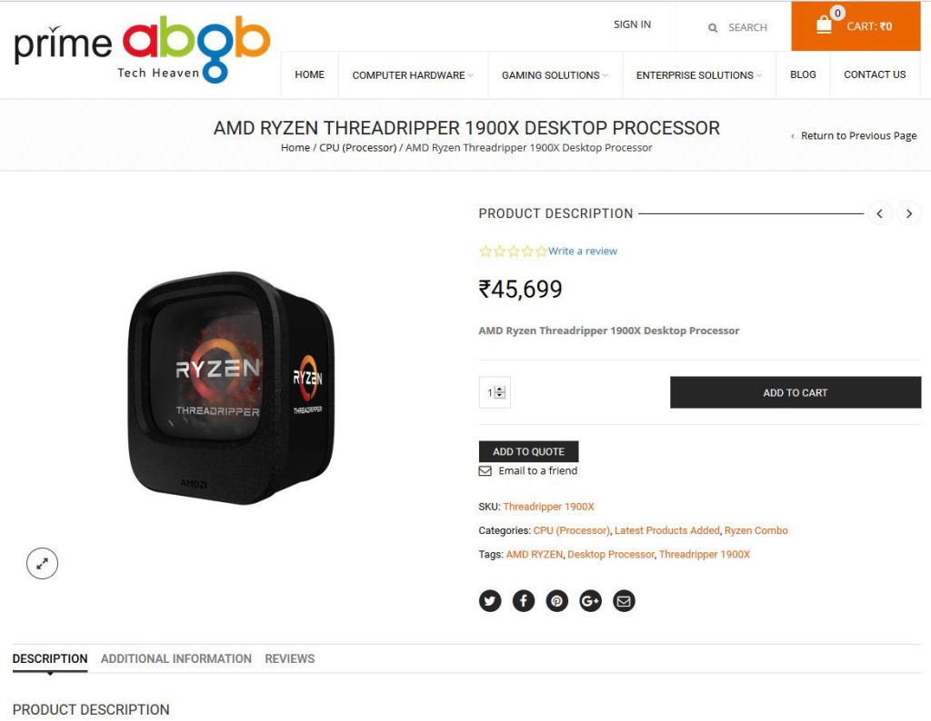 amd_threadripper_1900X_start_selling_in_India