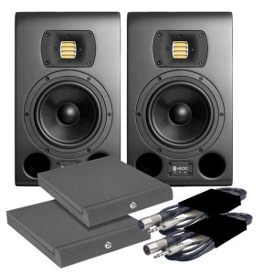 HEDD Type 07 MK2 Black Studio Monitors (Pair) + Pads & Leads Bundle