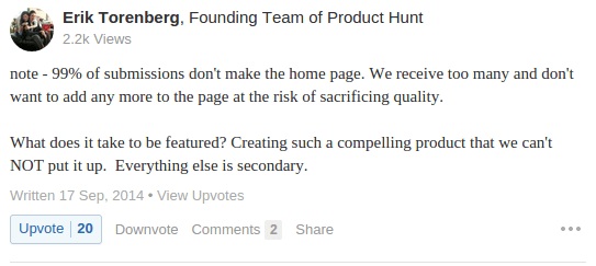 Product Hunt submission