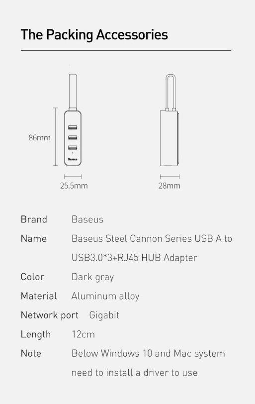 USB-A Hub Adapter to 3x USB