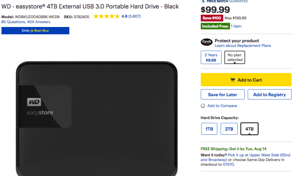 WD 4TB Best Buy Deal