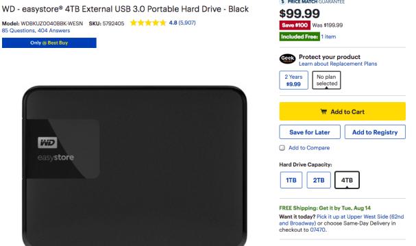 WD 4TB Best Buy Deal