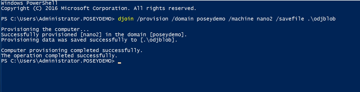 DJOIN provisioning on a Windows server