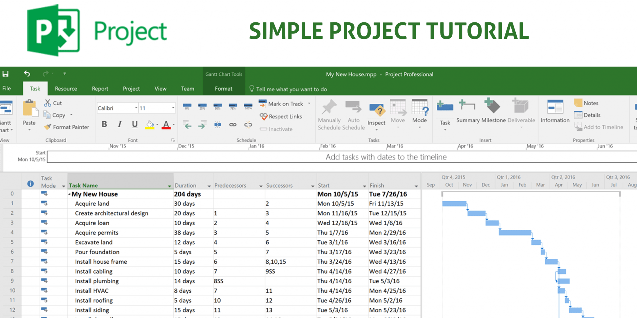 Tutorial Build A Simple Project Plan With Microsoft Project