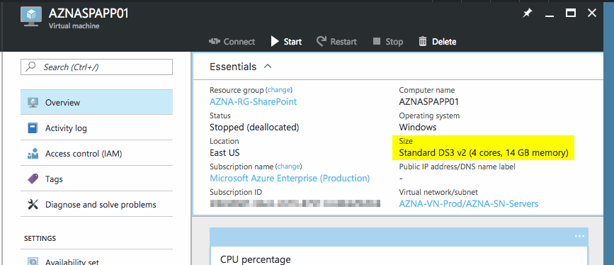 Check VM CPU and memory size