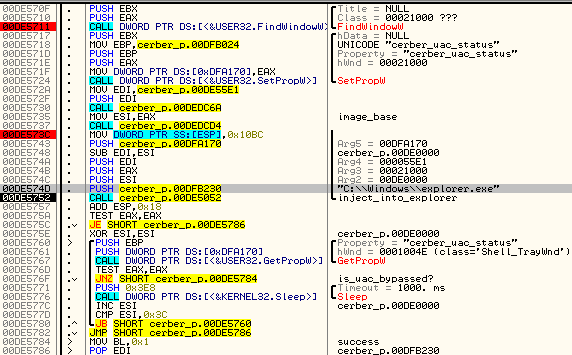 Cerber ransomware bypassing UAC