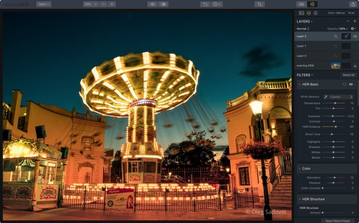 Aurora HDR update 1.2.0 interface with a picture of a carousel