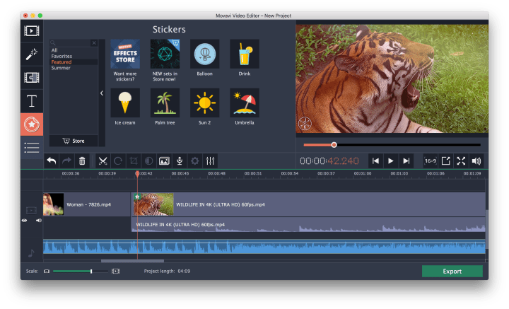 the image of the tiger with special effects in movavi video editor