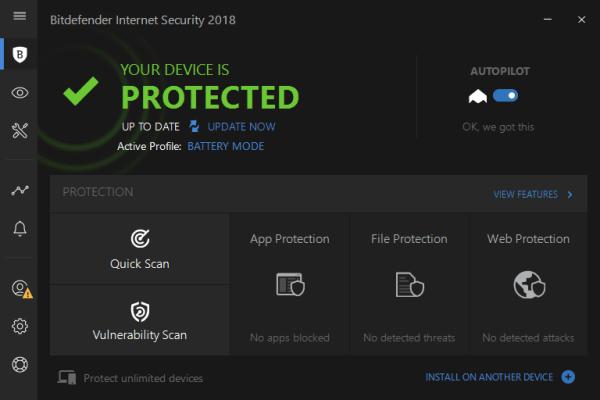 Bitdefender Internet Security interface