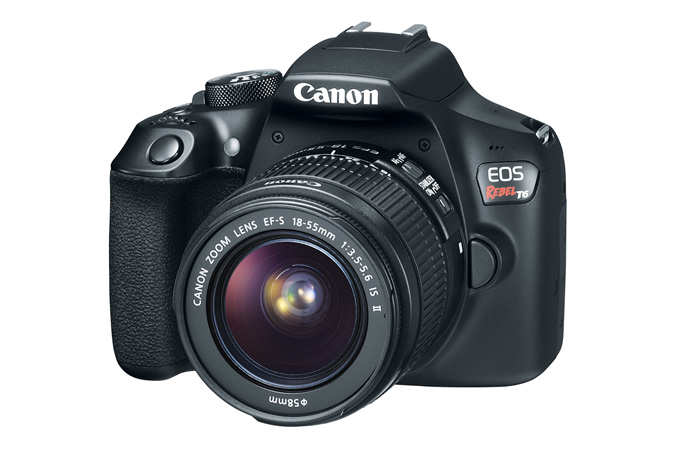 Canon EOS Rebel T6 against the white backgound