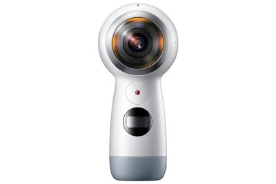 Samsung Gear 360 camera against the white background