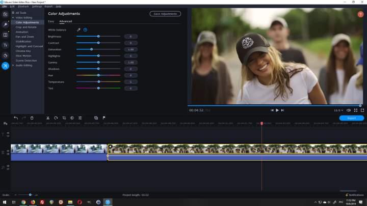 movavi video editor plus color correction