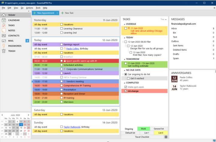 essentialpim interface