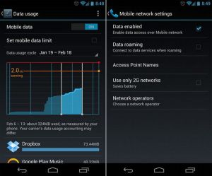 mobile data usage screenshot in android
