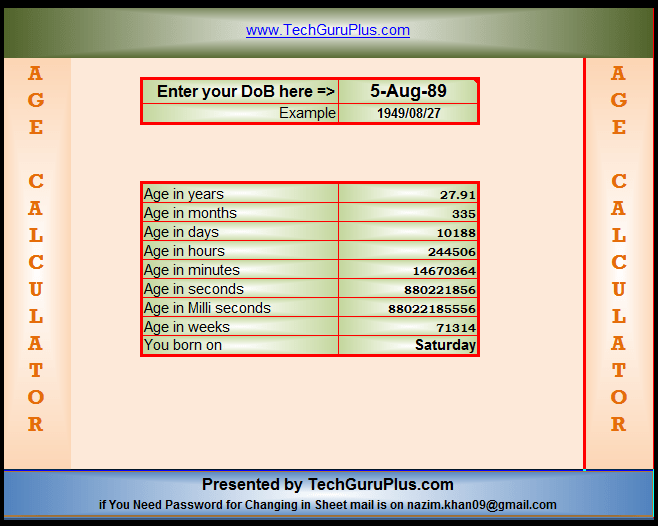 Age calculator in excel,.xls