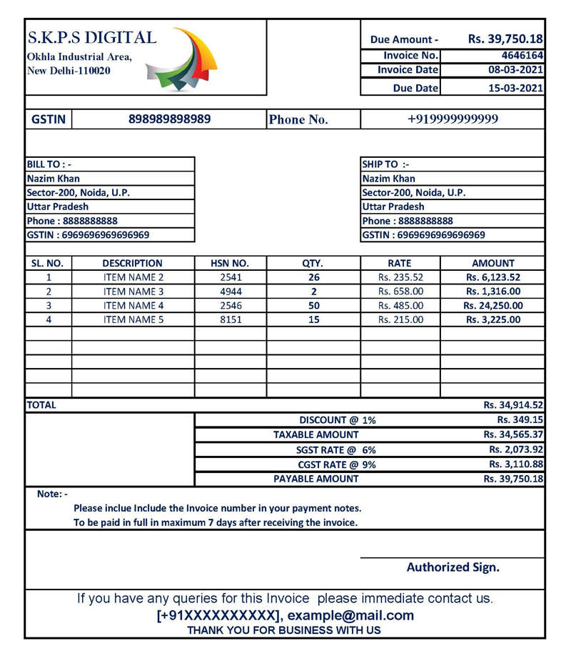 Very Simple Easy Gst Invoice Format In Excel Download Xlsx File