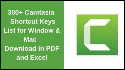 Camtasia Shortcut Keys