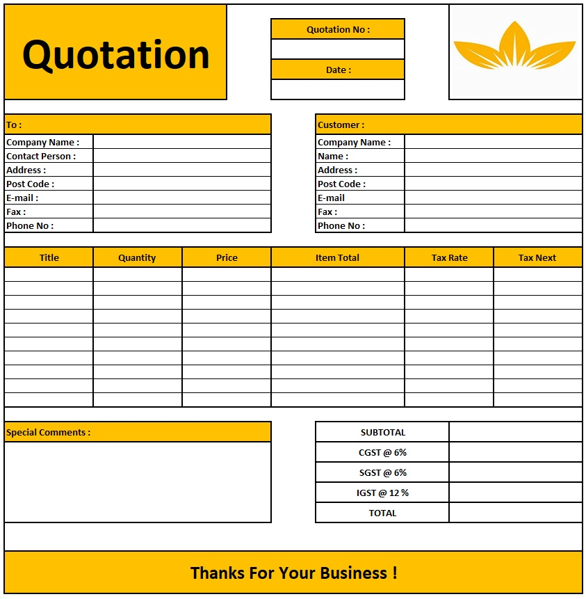 Photography Quotation Format , Download Quotation Format in Excel