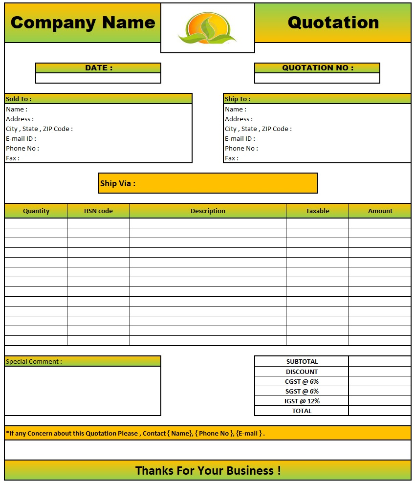 Quotation Email Format , Download Quotation Format in Excel