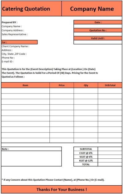 Request For Quotation Format , Download Quotation Format in Excel