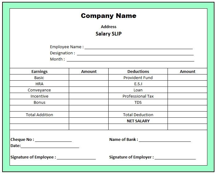 Salary Slip Format For Proprietorship Firm , Pay Slip Format Excel