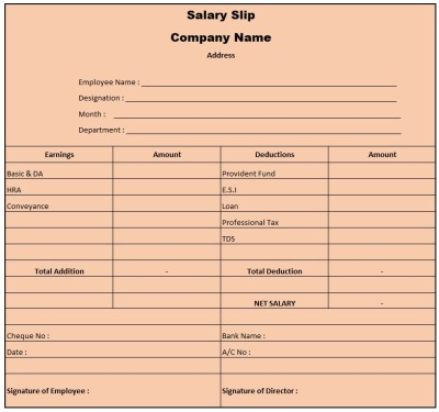 Simple Salary Slip Format For Small Organisation India , Pay Slip Format Excel