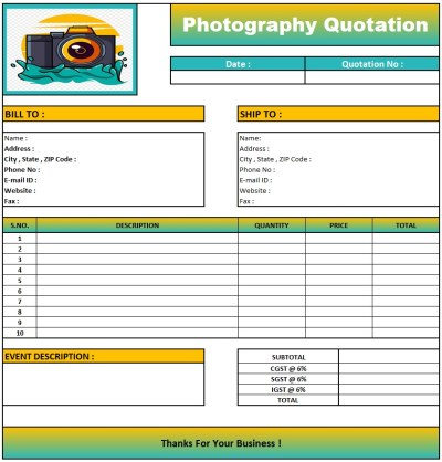 Wedding Photography Quotation Format , Download Quotation Format in Excel