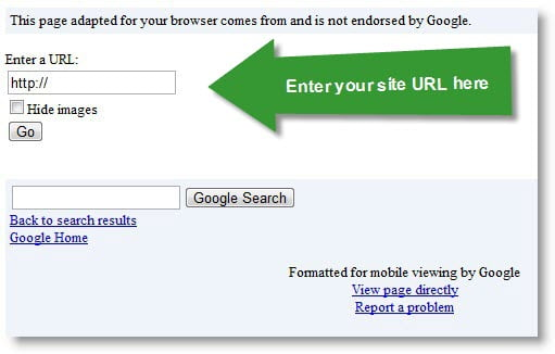 Google mobile site viewer
