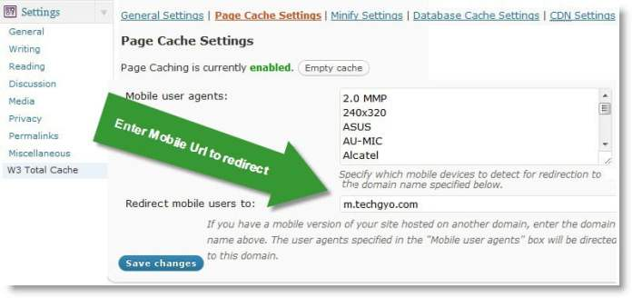 w3 total cache mobile integration