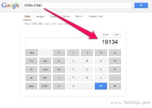 Google search as calculator