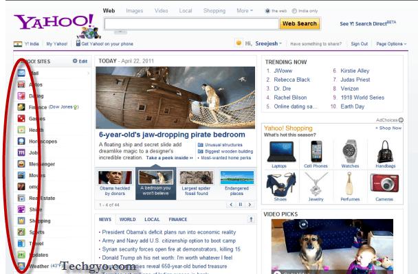 Yahoo home page css sprites demo