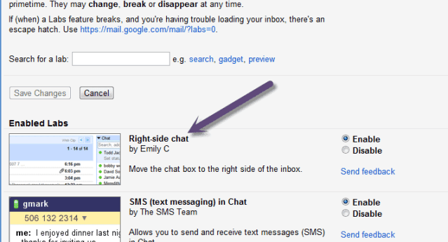 gmail right side chat