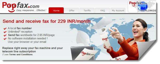 popfax website screenshot