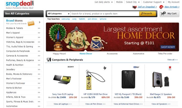 Snapdeal-Website Screenshot