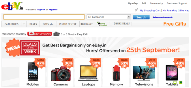 eBay-Website Screenshot