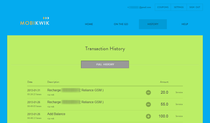 Mobikwik -Transaction History