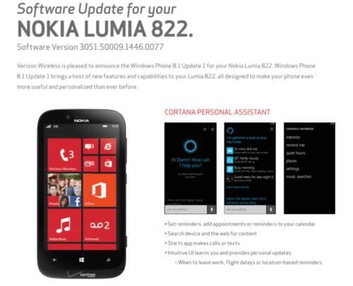 Nokia Lumia 822 update